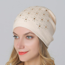 Thick Warm Winter Knitted Hat Head Women with Rhinestone Wool Knitted Skullies & Beanies Casual Windproof Hat & Caps Diamond(China)