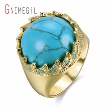 GNIMEGIL Brand Jewelry Women Blue Stone Nature Turquoises Ring Classic Earth Shape Gold Color Metal Female Party Rings Dropship(China)