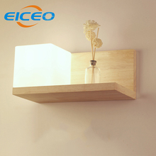 (EICEO) Wholesale Wood Glass Wall Lamp Living Room Bedroom Bedside Hallway Entrance Hallway Lighting Lamp Creative Wooden AC220V(China)