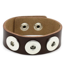 12Pcs Real Leather Bracelets Base Band Fit 18mm Snap Press Buttons Jewelry Findings 24cm, Coffee/White/Brown/Khaki/Black(China)