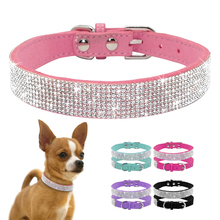 Didog Soft Suede Leather Puppy Dog Collar Adjustable Rhinestone Cat Pet Pink Collars Suit Small Medium Pets XS S M Chihuahua(China)