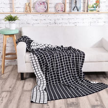 Cotton Grid Knitted Thread Blanket Cover For Sofa Bed Nap Office Travel Baby Soft Comfortable