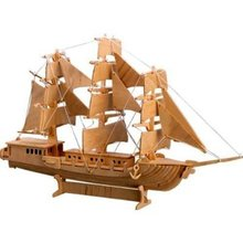 LeadingStar 3D Wooden Puzzle European Sail Boat Model Educational Jigsaw Toy for Children zk25(China)