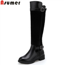 ASUMER plus size 34-47 knee high boots women round toe autumn winter boots zip med heels ladies shoes pu+flock women boots (China)