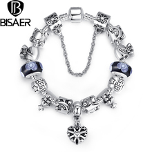 BISAER Best Wishes Bracelet & Bangles for Women Fashion Jewelry With Color Beads and Charms Wholesale HJ1827