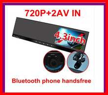 cheapest 4.3 bluetooth rearview mirror DVR phone handsfree +2AV IN +Touch button camera rotary motion detection night vision(China)