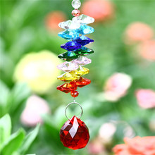 20mm Red  Glass Crystal Ball Colorful Octagonal Suncatcher Pendants Accessories Crystal Prisms Chandelier Parts Wedding Decor