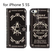 Dark evil forces, Black magic power magic book as the bible cover leather case for iphone 5 5s Pentacle leather case(China)
