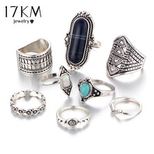 17KM Boho Jewelry Stone Midi Ring Sets for Women Anel Vintage Tibetan Turkish Silver Color Flower Knuckle Rings Gift 8pcs/Set(China)