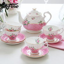 YeFine Bone China Tea Sets Cups And Saucers Porcelain Coffee Pot European Style Coffee Sets Teapot Kettle Gift Pink Rose Flower