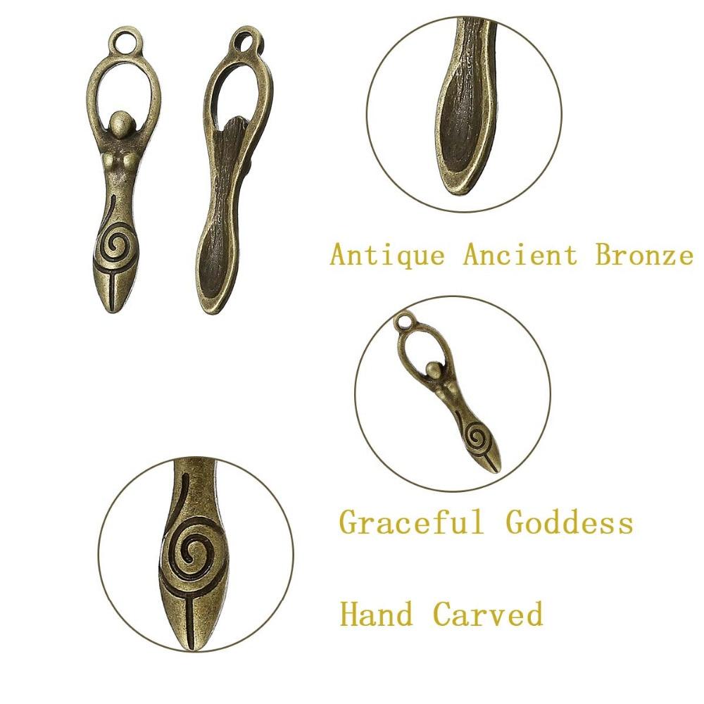 DoreenBeads Zinc metal alloy Charm Pendants Goddess Antique Bronze Graceful goddess Hand carved Antique Charm Pendants Hot 6 PCs (3)