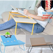 Folding laptop table cartoon simple lazy small desk height adjustable computer table bed(China)