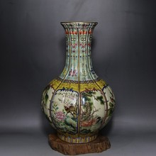 the Qing Dynasty  Pastel Outline in gold Beast Bottle elaborately hand-work crafts home decoration  collection
