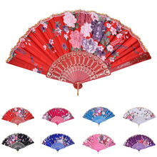 New 1PCS Chinese Vintage Fancy Folding Fan Hand Plastic Lace Silk Flower Dance Fans Party Supplies For Women Gift 8 Colors