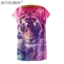 MITTELMEER T-Shirt Women Short Sleeve t shirt O-Neck Casual Summer Tops Animal Print Tiger Tees Cool T-Shirts for women