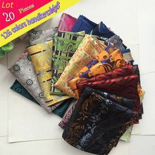 (20 pcs/lot) Wholesale Men's 100% Silk Handkerchief Luxury Geometric Floral Pocket Square Men Chest Towel Wedding Party Hankies