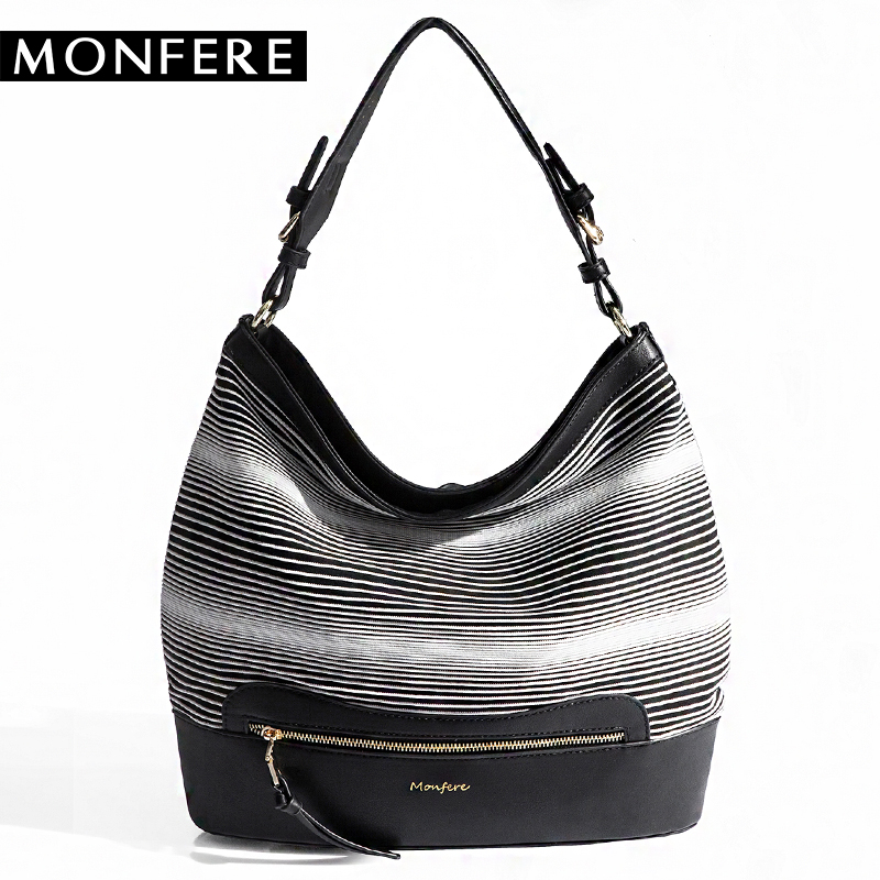 MONFERE NEW Cotton Fabric Stripe HOBO Casual knitting fringe bag large capacity SHOULDER BAGS zipper woven PU patchwork handbags<br>