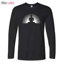 BITTER COFFEE 2017 Men O-neck Print Long Sleeve  t Shirt Punk Buddha SUN Men Leisure time Tops & Tees Plus Size