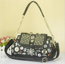 DLKLUO explosion paragraph skull bag diamond chain handbags ghost hand stitched diamond Rivet Package