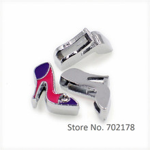 SL195 wholesales 10pcs mix color high-heeled shoe Slide Charms 8mm Fit Can through 8mm band 8mm Pet Dog Cat Tag Collar Wristband