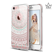 Totem Henna Mandala Floral Pattern Design with Soft TPU Bumper+Hard Back Cover for iPhone5s/iPhone 6 / iPhone 6s /iPhone6s plus(China)