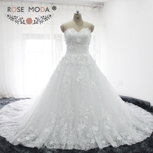 Buy Rose Moda Luxury Lace Ball Gown Royal Train Strapless 3D Lace Wedding Dress 1M Train Plus Size Wedding Dresses 2018 for $329.00 in AliExpress store