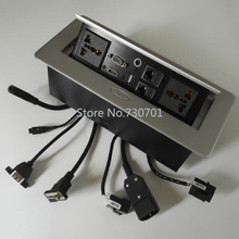 Thin panel two universal power internet tel audio VGA HDMI USB desk sockets outlet include connector cable