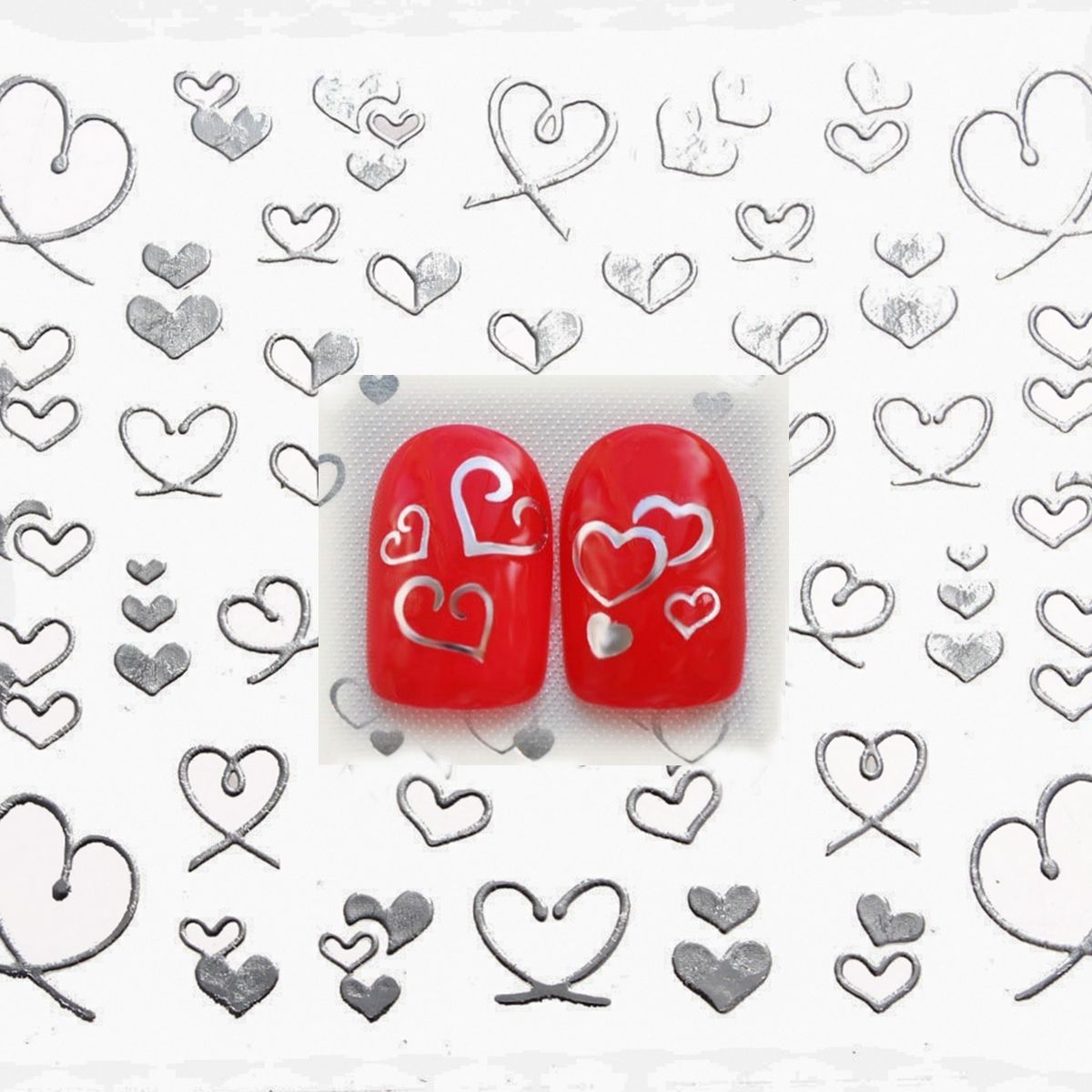 1 sheet Silver Hearts 3D Design Nail Art Water Stickers Manicure Polish Decals Tips DIY Beauty Tools<br><br>Aliexpress