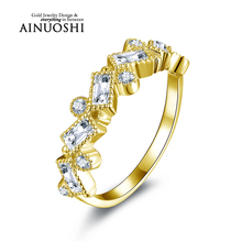 AINUOSHI 10K Solid Yellow Gold Wedding Ring Round Cut Rectangle Sona Simulated Diamond Band Women Engagement Rings Fine Jewelry