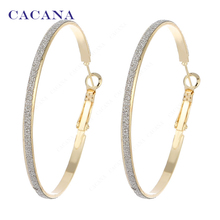 CACANA  Hoop Long Earrings For Women Big Round With Flash Point Bijouterie Hot Sale No.A842 A843