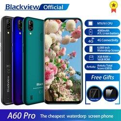 Смартфон Blackview A60 Pro MTK6761 четырехъядерный Android 9,0 4080 мАч мобильный телефон 3 ГБ + 16 Гб Водонепроницаемый экран лицо ID 4G мобильный телефон