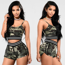 Women two piece outfits 2017 two piece set top and pants Camouflage tracksuit ladies casual sleeveless crop tops shorts sets
