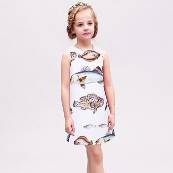 W.L.MONSOON Princess Dress 2017 Brand Summer Girls Party Dress Children Fish Printed Dresses Kids Clothes Vestido Princesa 3-12Y