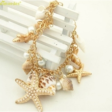Diomedes Newest Classy Bracelets Ocean Sea Shell Starfish Faux Pearl Bracelets Bangles Pendant Jewelry 1PC