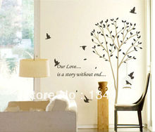 "Tall Tree Leaves Falling Birds Flying  with English line ""our love is a story without end""  Easily Removable Wall Sticker Decal"