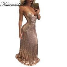 2017 Chrismas Even night Party Dress Sexy Women Gold Sequin Long Dresses Floor length Blackless Maxi Vestido De Festa Gold Black