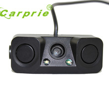 2017 new Night Vision camera monitor 2LED Car Rear View Camera with Radar Parking Sensor drop shipping gift june12(China)