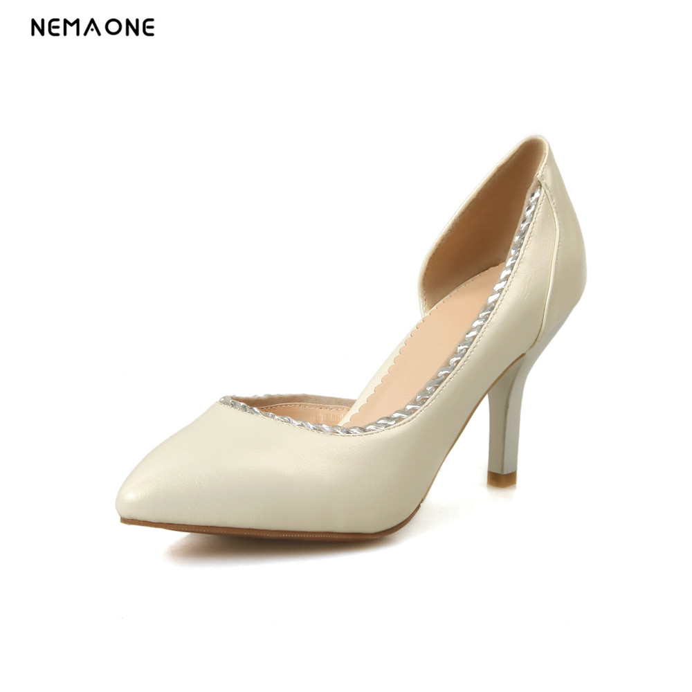 NEMAONE New women pumps fashion new sexy solid pointed toe party wedding high heeles shoes big size 5-2 heel height 8cm<br>