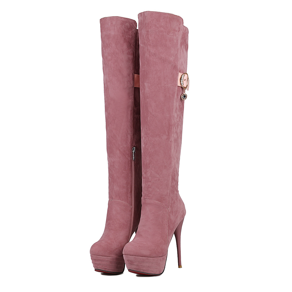 New High-quality Women Over the Knee Boots Nice Round Toe Thin Heels Boots Black Pink Yellow Grey Shoes Woman Size 4-10.5<br><br>Aliexpress