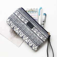 National Geometric Pattern Pencil Case for Teenagers Girls Women Canvas Cosmetic Pen Bag Box Pencilcase School Stationery