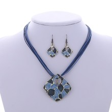 ZOSHI Fashion Brand Jewelry Sets Sqaure Pendant 4 Colors Faux Leather Rope High Quality Wholesale Price Party Gifts