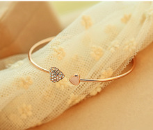 Mix wholesale.2014 New heart crystal love opening gold Siliver plated bracelet crystal bracelets bangles for women(China)