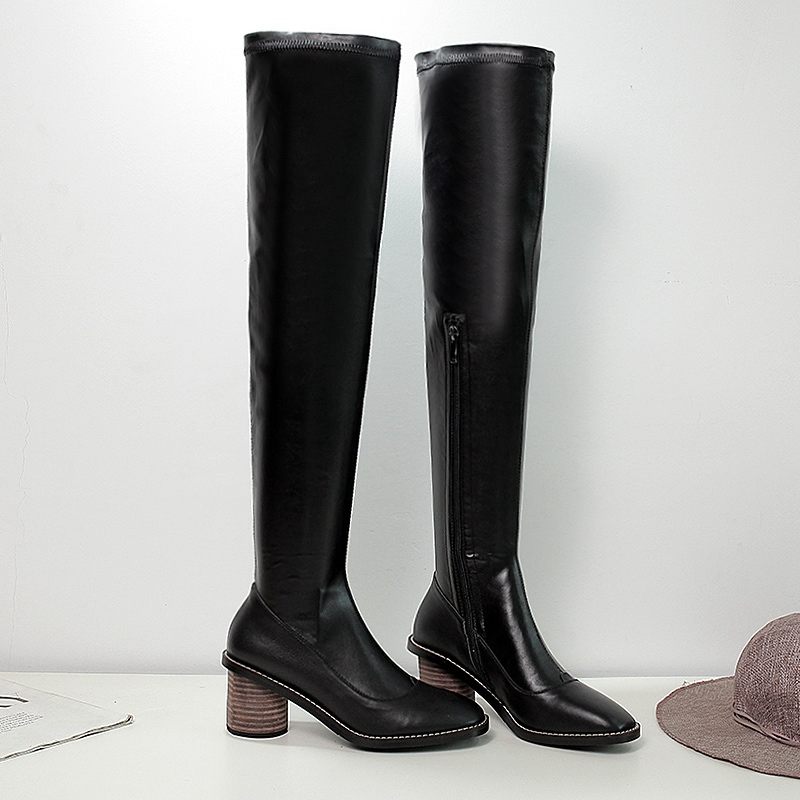 Black Cowhide Uppers Fashion Elegant Square Toe Thick Heels Stovepipe Over the Knee High Boots 2016 Hot Sale Charming Jackboot<br><br>Aliexpress