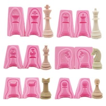 12Pcs International Chess King Queen Knight Rook Pawn Bishop Double-Sided Silicone Fondant Cake Chocolate Molds Kitchen Baking