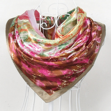 2014 Satin Big Square Scarf Printed For Women 90*90cm Ladies's Brand Polyester Silk Scarf Red And Green Female Square Scarves