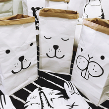 Popular Heavy Kraft Paper Bag Children Room Organizer Bag Storage Bag For Toy And Baby Clothings CCSC05