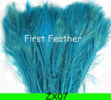 Free shipping 100pcs/lot turquoise dyed peacock feather 10-12 inch /25-30cm peacock feathers for wedding decorations ZX07