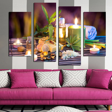 Painting 4 Panels leaves Candle Picture Canvas Print Painting Artwork Wall Art Canvas painting For Home Decoration Unframed F177(China)