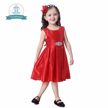 Toddler Girls dress summer 2017 party and wedding princess costume with Diamonds belt kids dress for girl Christmas clothes(China)