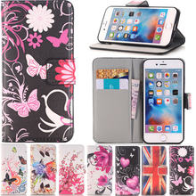 Butterfly Flower Pattern Flip Leather Wallet Case Book Stand Style Soft Cover For apple iphone 4 4s 5 5s SE 5SE 5C 6 6s 7 Plus